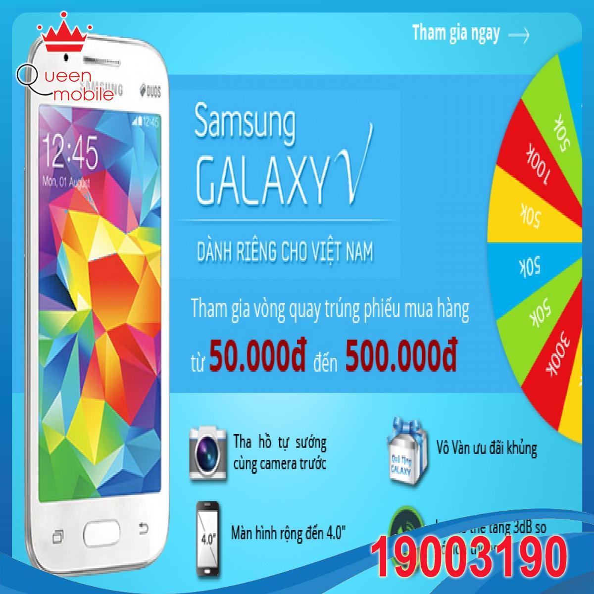 Chơi vòng quay Samsung Galaxy V, trúng phiếu mua hàng 50.000đ - 500.000đ