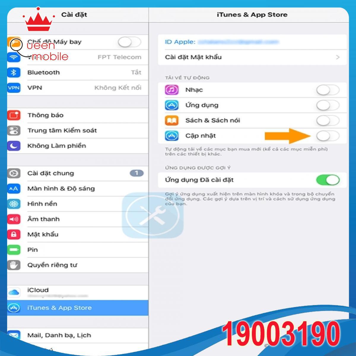 Hướng dẫn tắt tính năng tự động cập nhật ứng dụng trên iOS