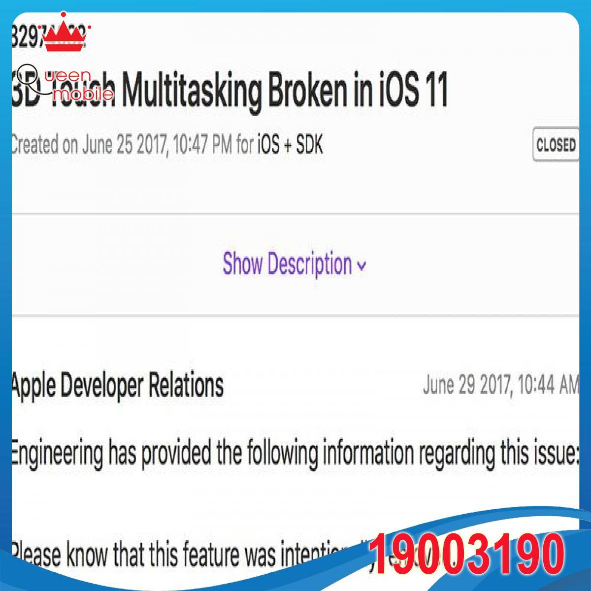 Apple xác nhận tính năng mở đa nhiệm bằng 3D Touch đã bị loại bỏ trên iOS 11