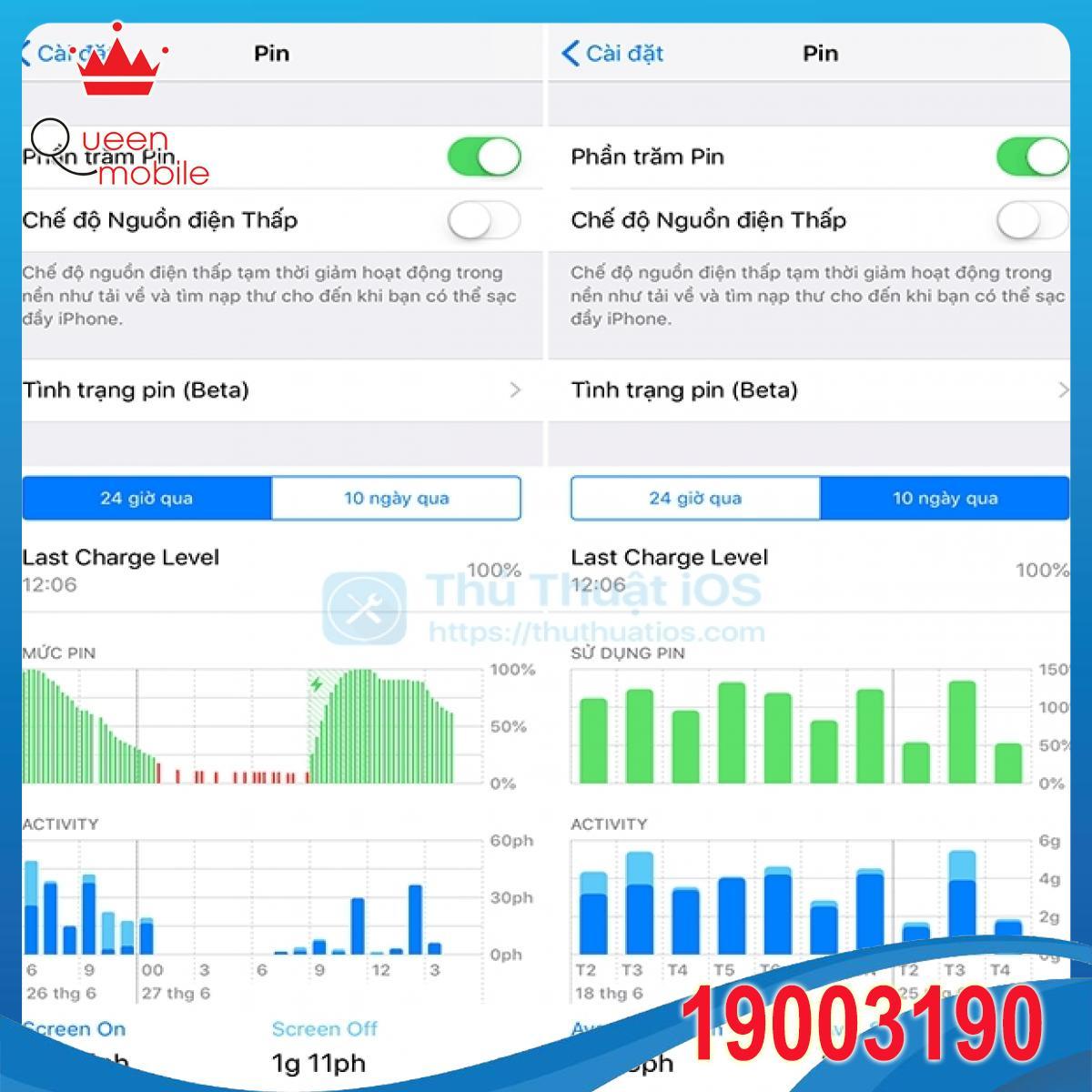 Cách xem thống kê mức sử dụng pin chi tiết trên iOS 12