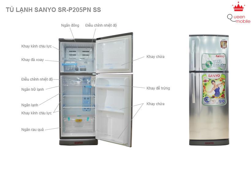 Tủ lạnh Sanyo SR-P205PN ST 205 lít Ngăn đá trên 2 cửa - Xám
