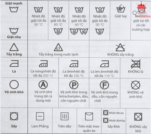 Các biểu tượng mã giặt quốc tế cần lưu ý khi giặt bằng máy giặt