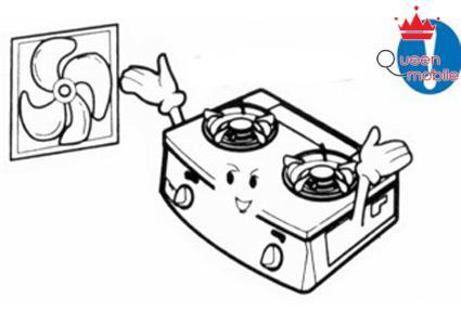 Khi nấu ăn nên mở cửa sổ hoặc sử dụng quạt thông gió, máy hút mùi khi nấu.