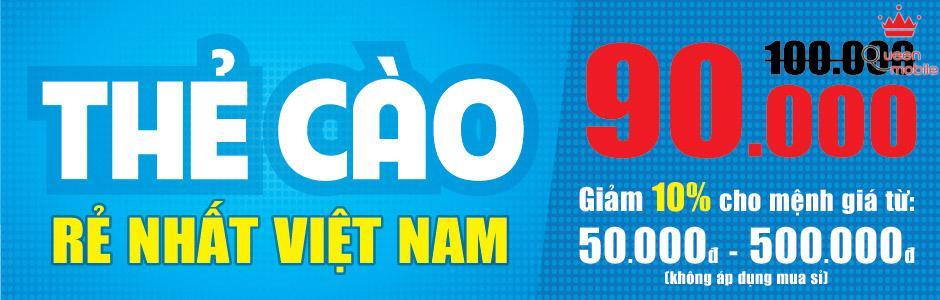 Thẻ cào rẻ nhất Việt Nam - Chỉ còn 90,000đ cho mệnh giá 100,000đ