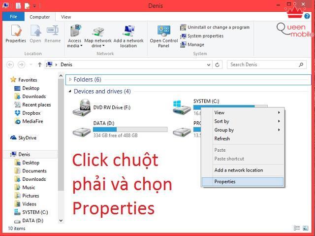 Click chuột phải vào khoảng trống và chọn Properties
