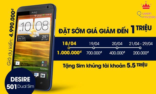Đặt sớm HTC Desire 501 Dual Sim - Rẻ hơn đến 1 triệu + Tặng Sim Bùm miễn phí internet 1 năm