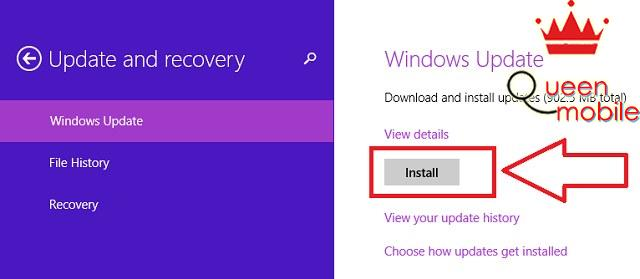 Chọn Install để tải và cài đặt gói cập nhật