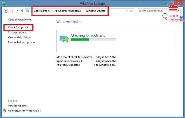Vào Control Panel và chọn Windows Update