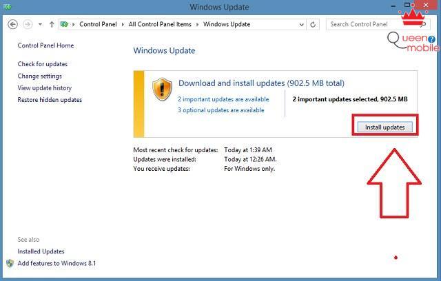 Chọn Install updates để tải và cài đặt gói cập nhật