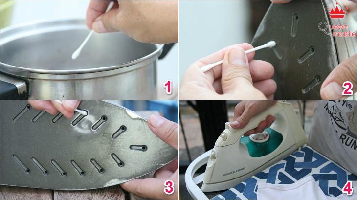 Làm sạch mặt bàn ủi bằng tăm bông