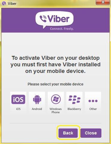 """Sau khi cài đặt xong Viber trên di động, bạn chọn """"back"""" để quay về"""