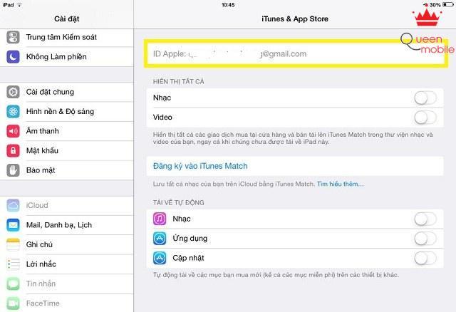 Thậm chí ID Apple cũng bị làm mờ, không cho phép người dùng khác thay đổi