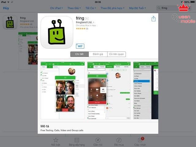 Người dùng có thể tải miễn phí Fring tại kho ứng dụng Apple