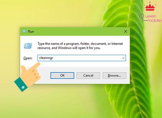 Bước 1: Bạn mở hộp thư thoại Run (Windows+R), nhập lệnh cleanmgr và Enter.