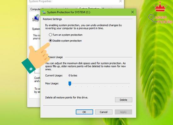 Bước 3: Bạn chọn Disable system protection để tắt chức năng System Restore nhé, rồi nhấn OK.
