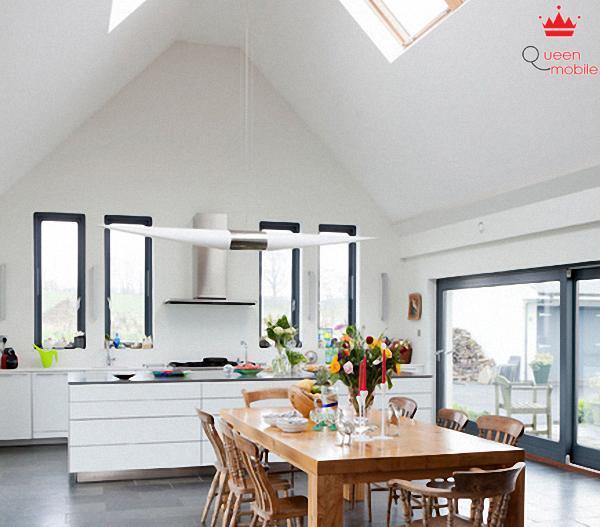 Cách bài trí với bếp dưới mái uốn vòm