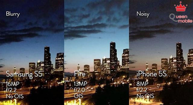 Hình ảnh chụp đêm từ camera của Amazon Fire so sánh với Galaxy S5 và iPhone 5S