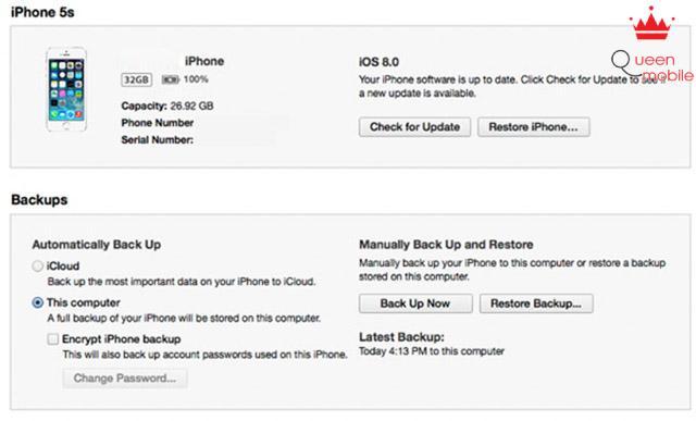 Khởi động giao diện iTunes trên máy tính