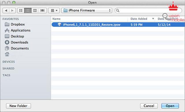 Chọn đường dẫn đến firmware iOS 7.1.1 vừa tải về