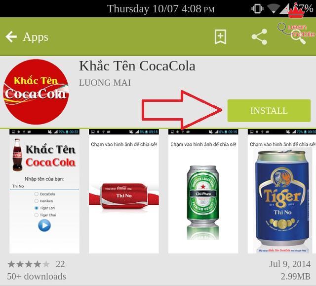 Tự in tên mình lên lon Coca Cola, Heineken, Tiger trên Android