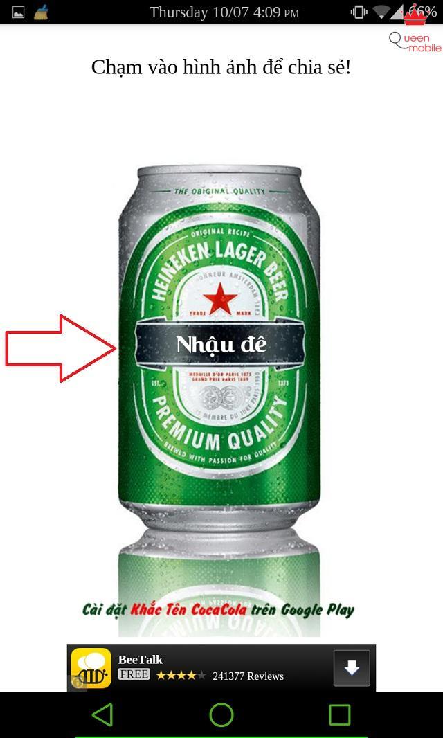 Chữ đã được khắc lên lon Heineken