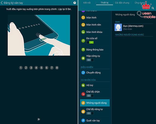 Bảo mật vân tay và chế độ đa người dùng trên Galaxy Tab S