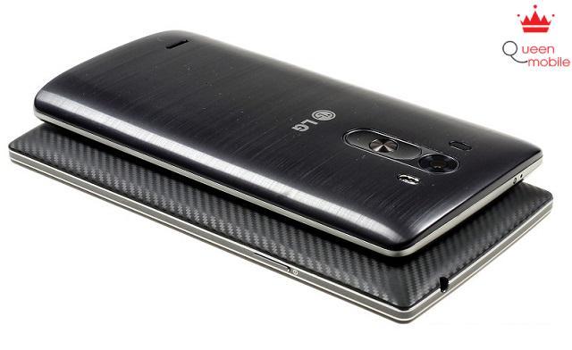 Thiết kế viền siêu mỏng giúp LG G3 trở nên gọn hơn so với Oppo Find 7
