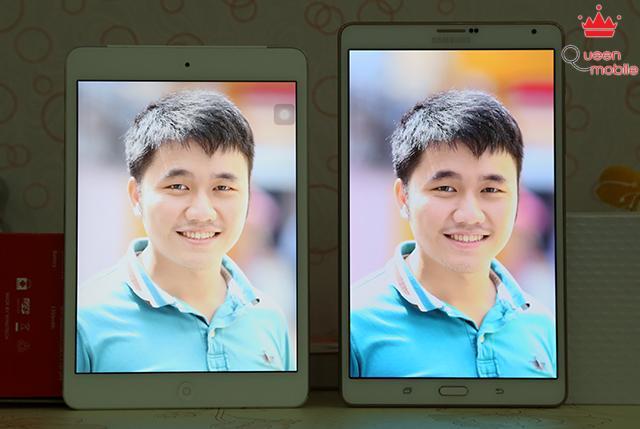 Màu da người trên Tab S 8.4 được hiển thị đậm đà hơn so với iPad