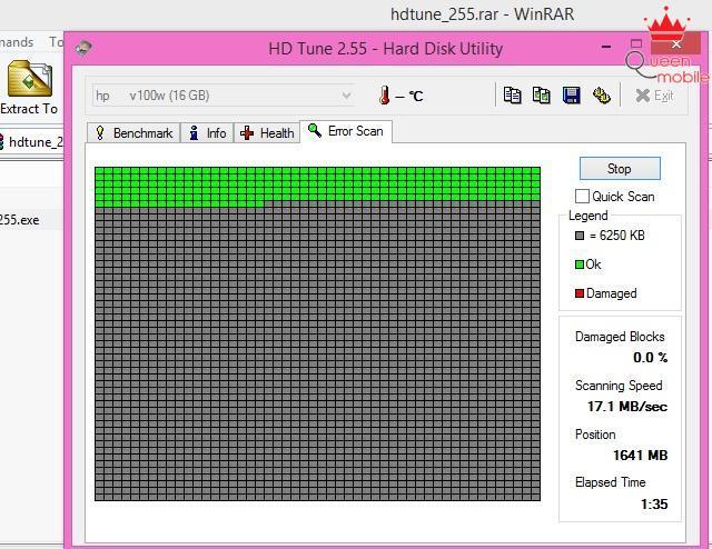 Chức năng scan lỗi của phần mềm HD Tune