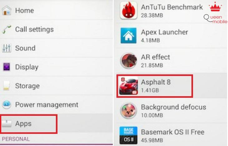 Chọn Apps rồi chọn ứng dụng cần tắt thông báo