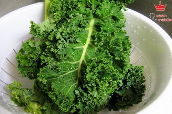 Cho rau cải xoăn lên bề mặt nồi súp hoặc canh để hút bớt chất béo