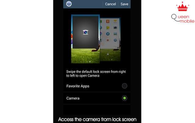 Bật ứng dụng camera từ màn hình khoá