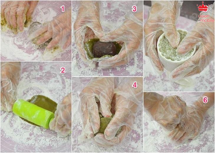 Cách làm bánh trung thu trà xanh đậu đỏ