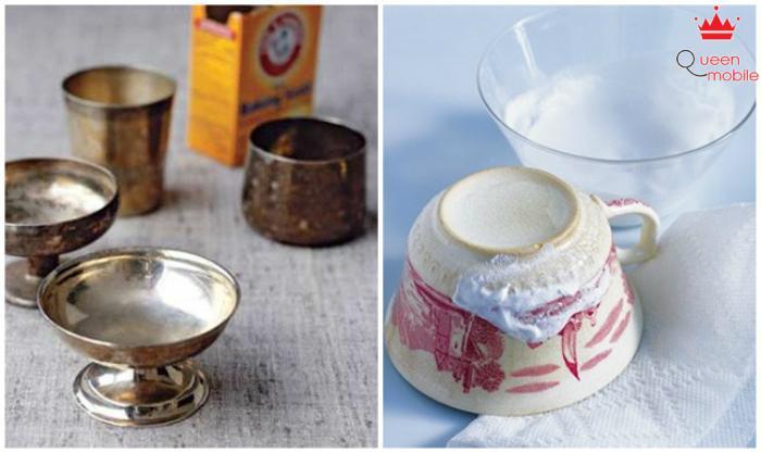 Rửa sạch chén trà bằng bột baking soda