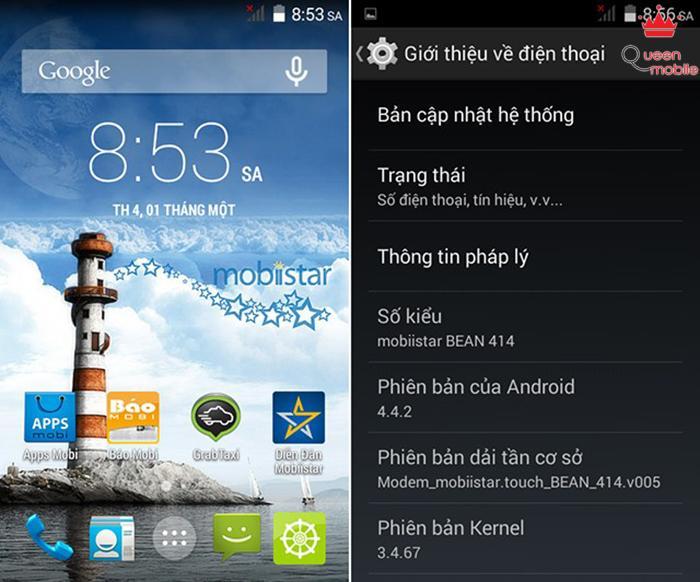 Mobiistar Bean 414 được chạy Android KitKat khi xuất xưởng