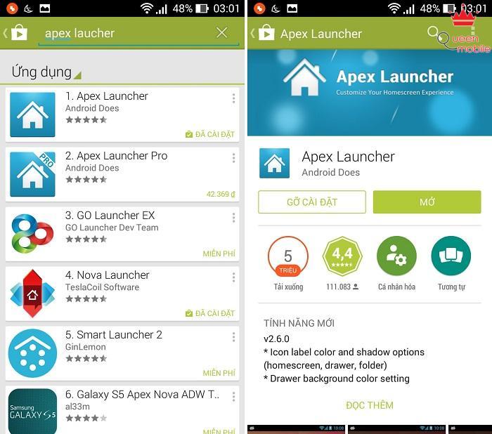 Cài đặt Apex Launcher từ CH Play