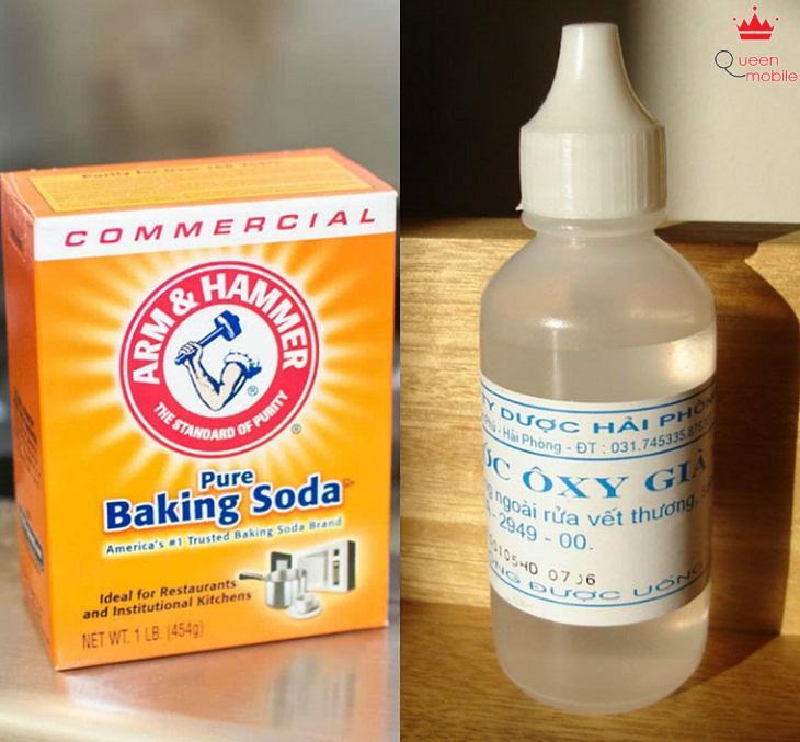 bột baking soda và nước oxy già
