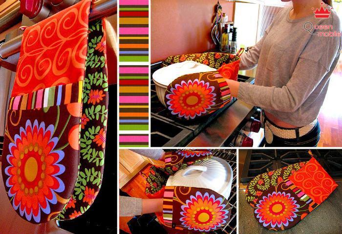 Găng tay bắc bếp với họa tiết và màu sắc rực rỡ giúp việc làm bếp thêm phần vui hơn