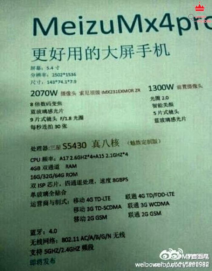 Thông tin rò rỉ của Meizu MX4 Pro
