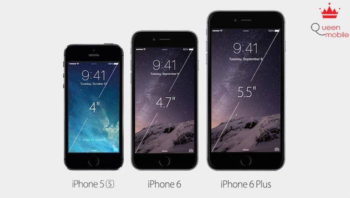iPhone 6 có màn hình 4.7 inch trong khi iPhone 6 Plus có màn hình 5.5 inch