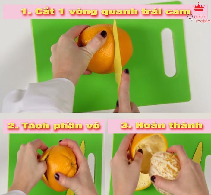 Vỏ cam được tách ra dễ dàng