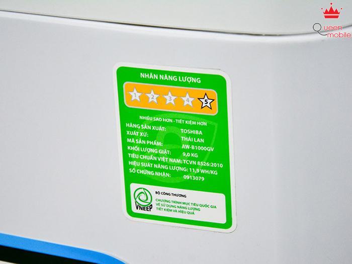 Tem năng lượng 5 sao của máy giặt Toshiba AW-B1000GV