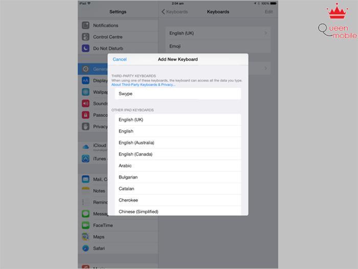 Tới đây, bạn sẽ thấy các ứng dụng bàn phím đã tải. Bấm vào Swype, và nó sẽ được lưu vào danh sách bàn phím được phép hoạt động.