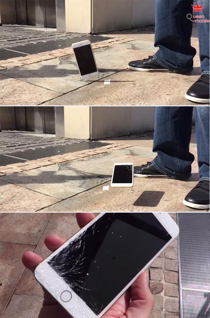 Tuy nhiên, với iPhone 6 Plus thì màn hình đã vỡ nát góc tiếp xúc nền cứng. Tuy nhiên màn hình vẫn hiển thị đầy đủ và cảm ứng không bị ảnh hưởng.