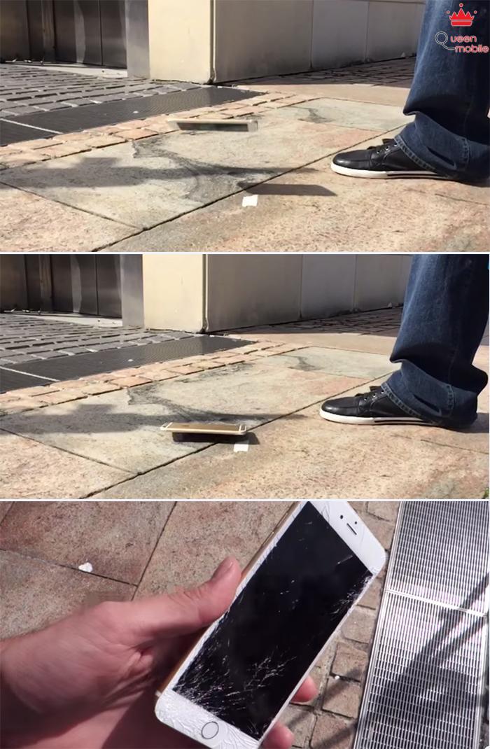 iPhone 6 Plus cũng không khá hơn khi thả rơi bề mặt.