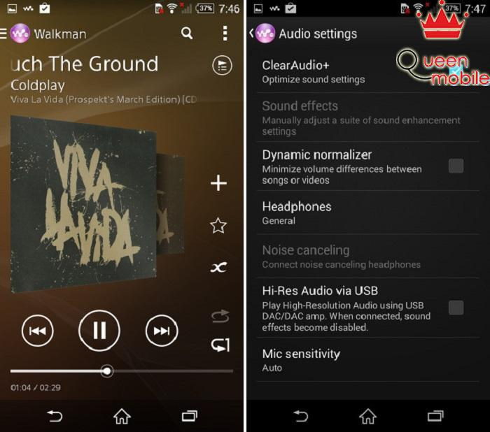 Trình nghe nhạc Walkman nổi tiếng và nhiều tùy chỉnh âm thanh tiên tiến của Sony trên Xperia Z3