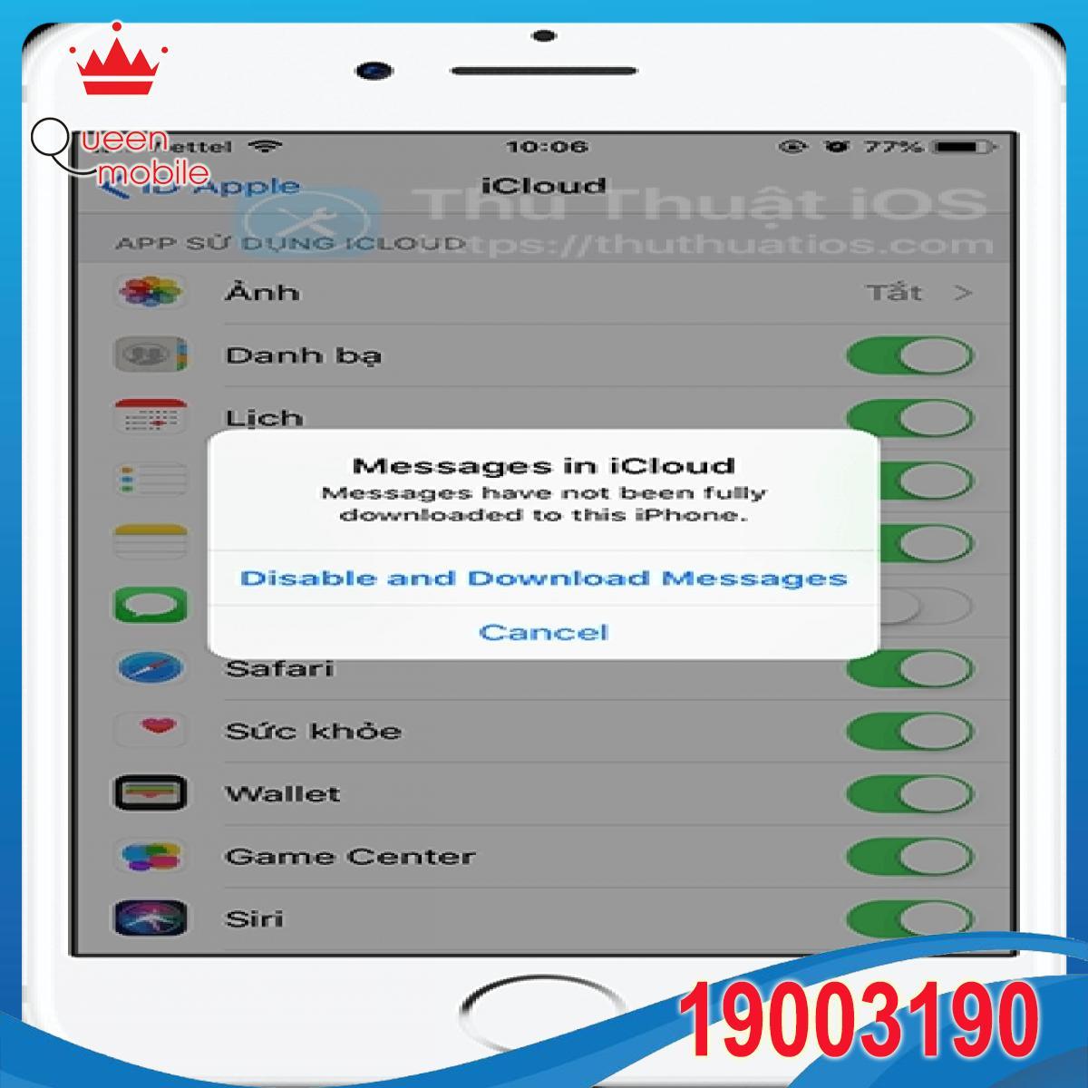 tat tin nhan trong icloud ios 11.4