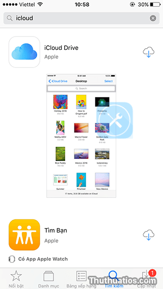 ung dung icloud drive trong app store
