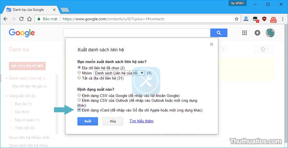 xuat danh ba tu google