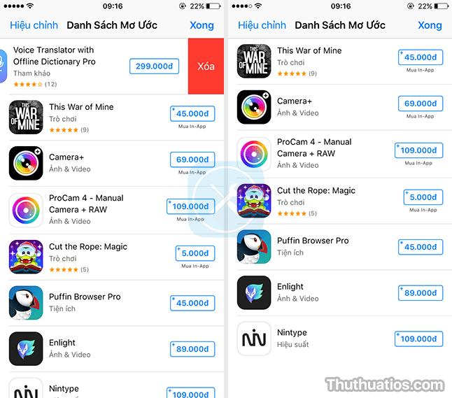 xoa ung dung trong ds mo uoc tren app store
